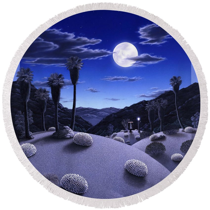Desert Round Beach Towel featuring the painting Full Moon Rising by Snake Jagger