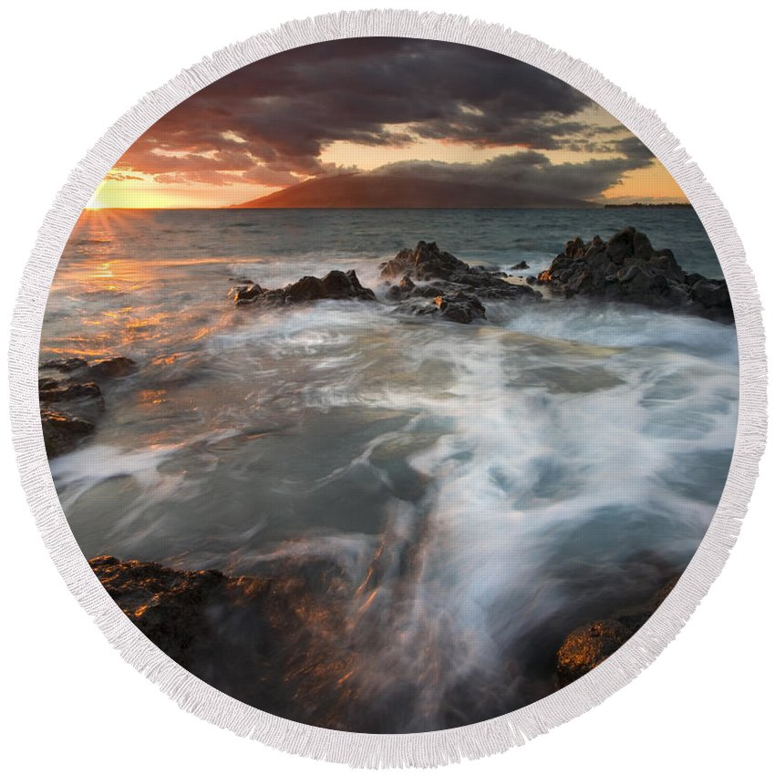 Cauldron Round Beach Towel featuring the photograph Full To The Brim by Mike Dawson
