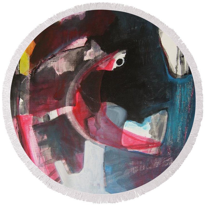 Abstract Paintings Paintings Abstract Art Paintings Round Beach Towel featuring the painting Fumbling With Memory by Seon-Jeong Kim