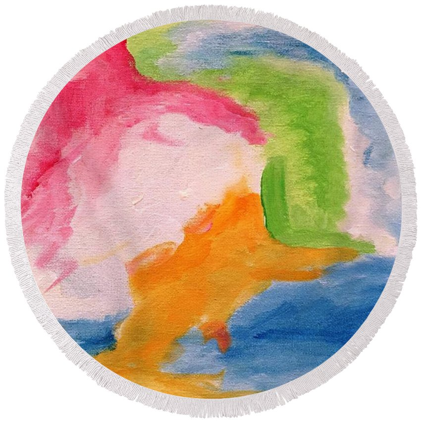 Abstract Round Beach Towel featuring the painting Fun Abstract by Tay Morgan