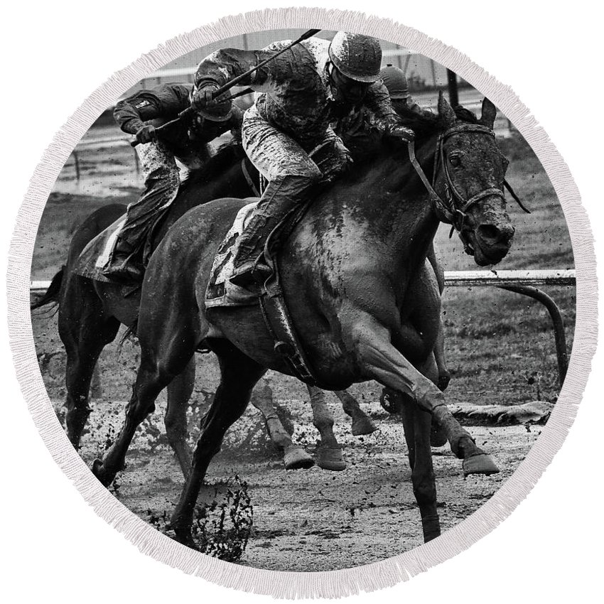 Jockey Round Beach Towel featuring the photograph Fun In The Mud 10 by Bob Christopher