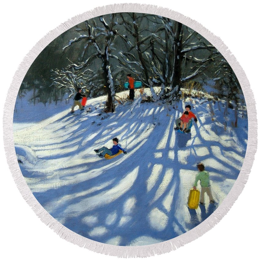 Winter Round Beach Towel featuring the painting Fun In The Snow by Andrew Macara