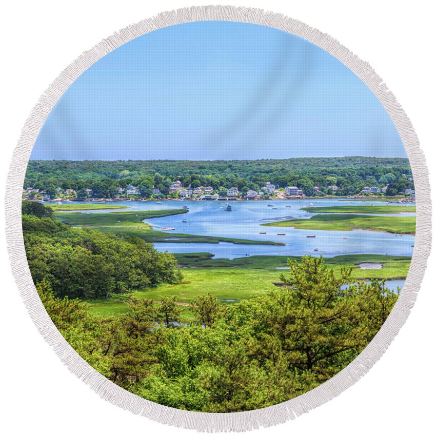 John Bailey Round Beach Towel featuring the photograph Fun On The Annisquam River by John M Bailey