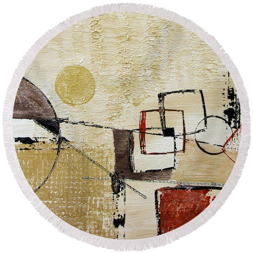 Abstract Round Beach Towel featuring the painting Fun With Shapes by Ruth Palmer