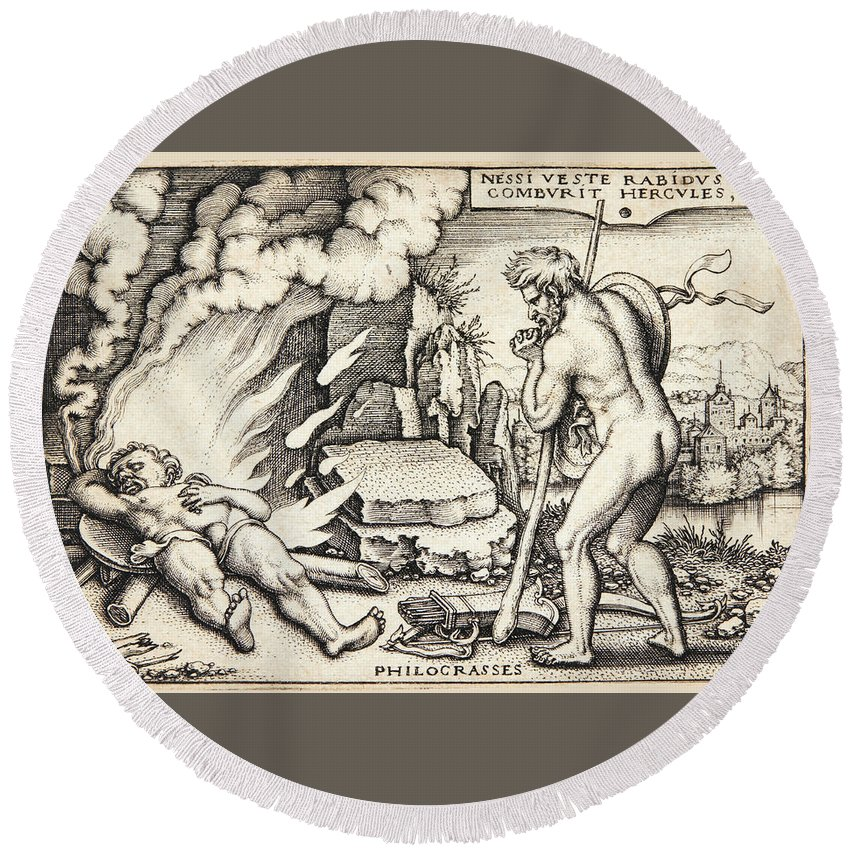 Sebald Beham Round Beach Towel featuring the drawing Funeral Of Hercules by Sebald Beham