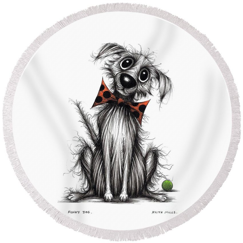 Spotty Bow Round Beach Towel featuring the drawing Funky Dog by Keith Mills