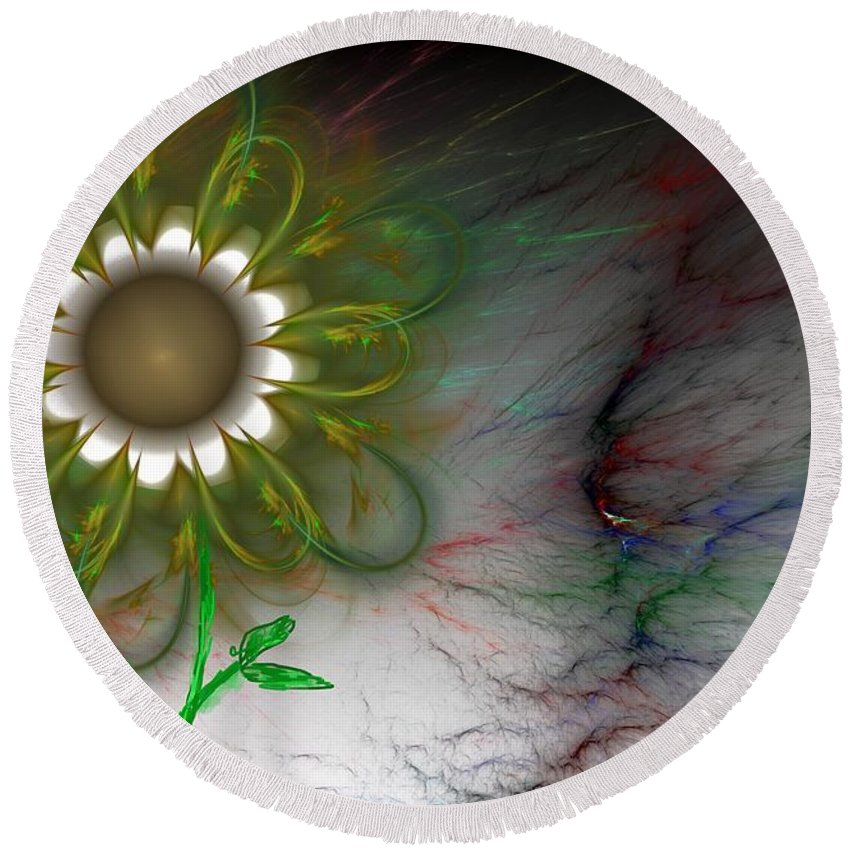 Digital Photography Round Beach Towel featuring the digital art Funky Floral by David Lane