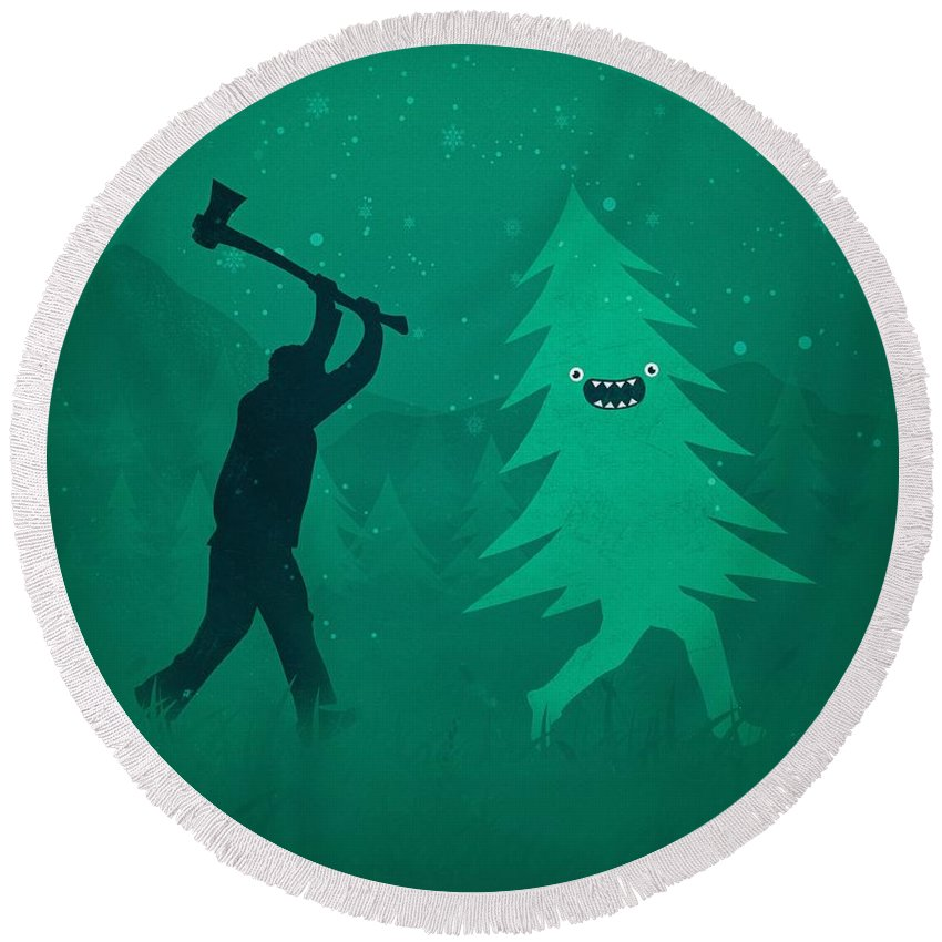 Cute Round Beach Towel featuring the digital art Funny Cartoon Christmas tree is chased by Lumberjack Run Forrest Run by Philipp Rietz