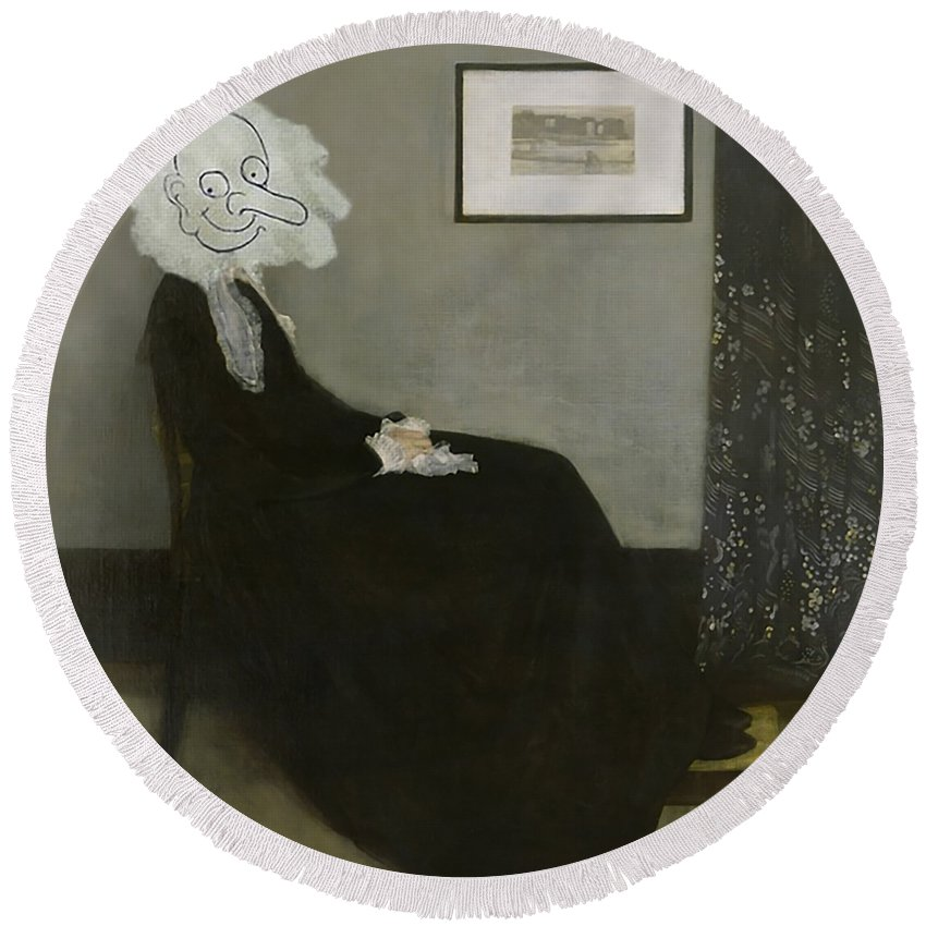Mr Bean Whistlers Mother Disaster Movie Rowan Atkinson Gallery James Mcneill Whistler Funny Teddy Round Beach Towel featuring the digital art Funny Mr Bean by Shena Goyang