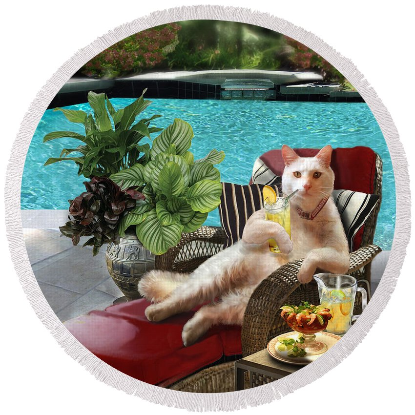 Funny Cat Picture Round Beach Towel featuring the painting Funny Pet Vacationing Kitty by Regina Femrite