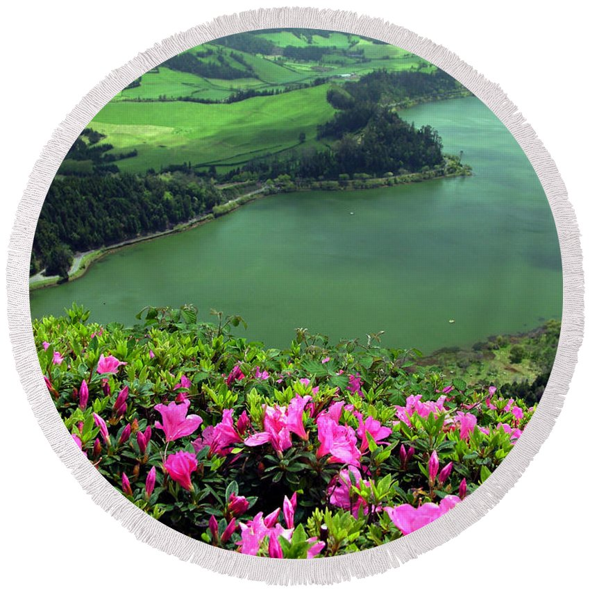 Azaleas Round Beach Towel featuring the photograph Furnas Lake Azores by Gaspar Avila