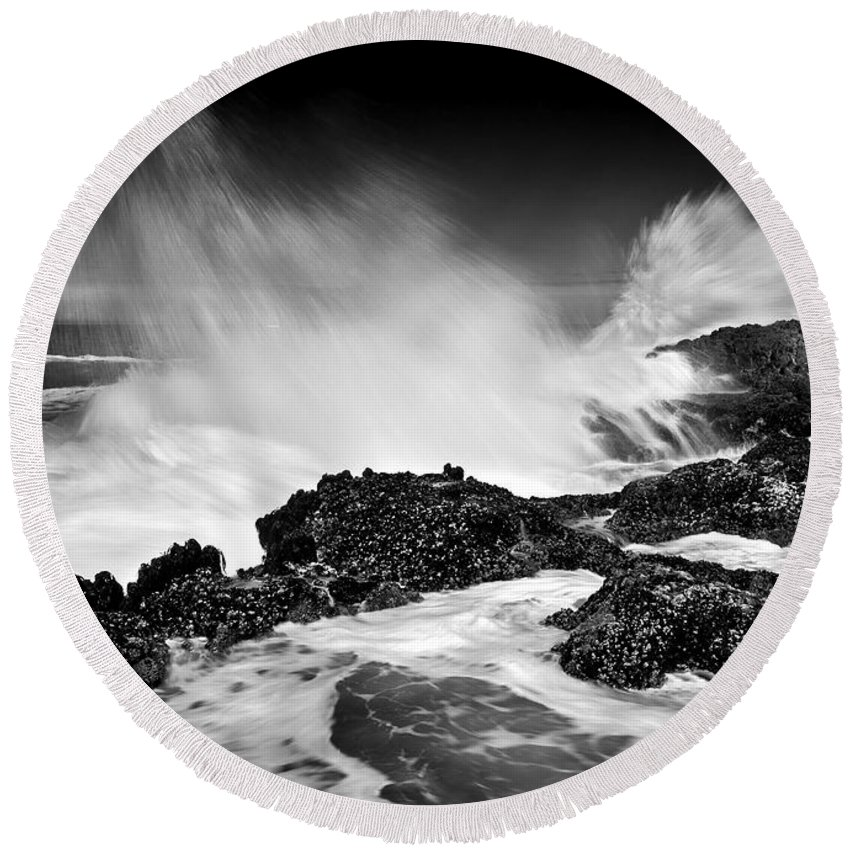 Waves Round Beach Towel featuring the photograph Fury by Mike Dawson