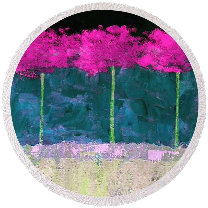 Abstract Round Beach Towel featuring the painting Fuschia Trees by Ruth Palmer