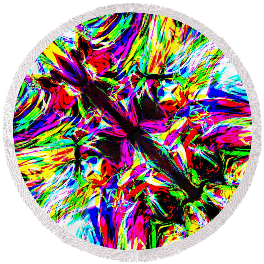Abstract Round Beach Towel featuring the digital art Fuvia by Blind Ape Art