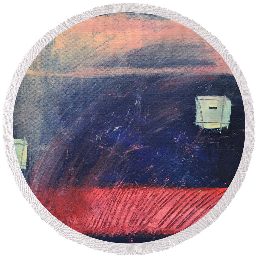 Red Round Beach Towel featuring the painting Fyr Bal by Tim Nyberg