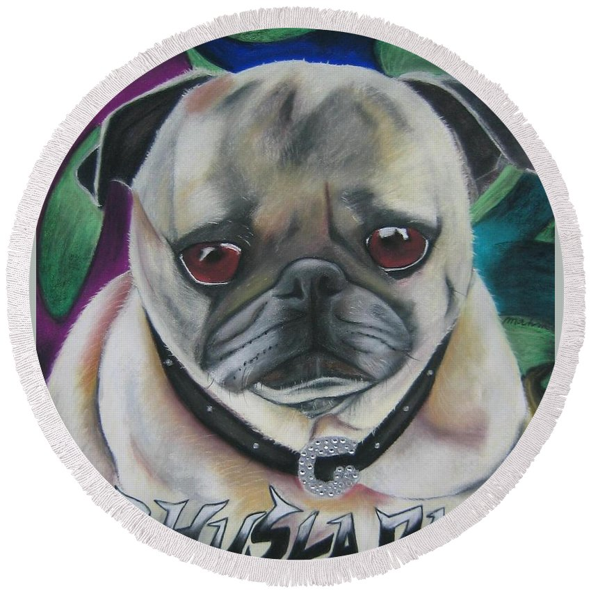Dog Painting Round Beach Towel featuring the painting G Dawg by Michelle Hayden-Marsan