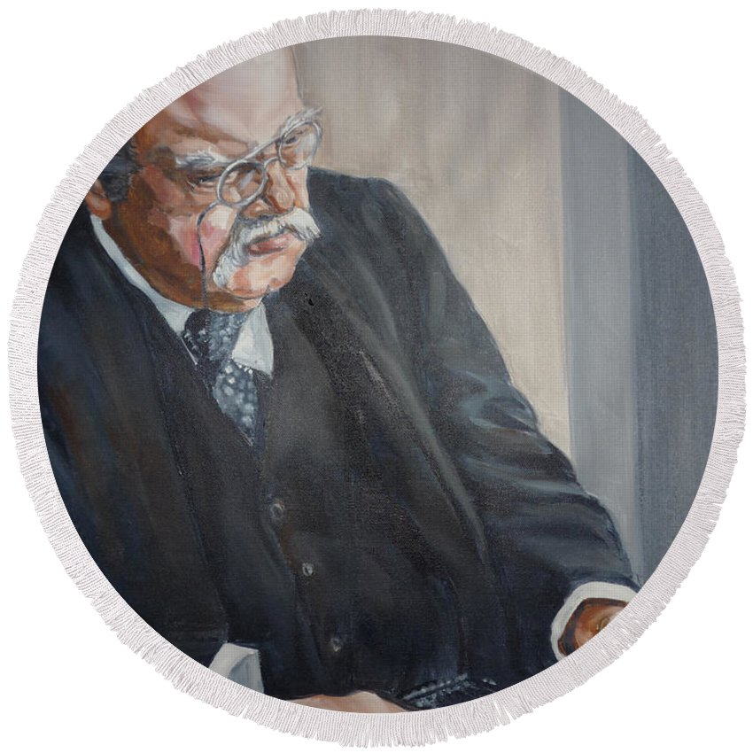 Chesterton Author Catholic Round Beach Towel featuring the painting G K Chesterton by Bryan Bustard