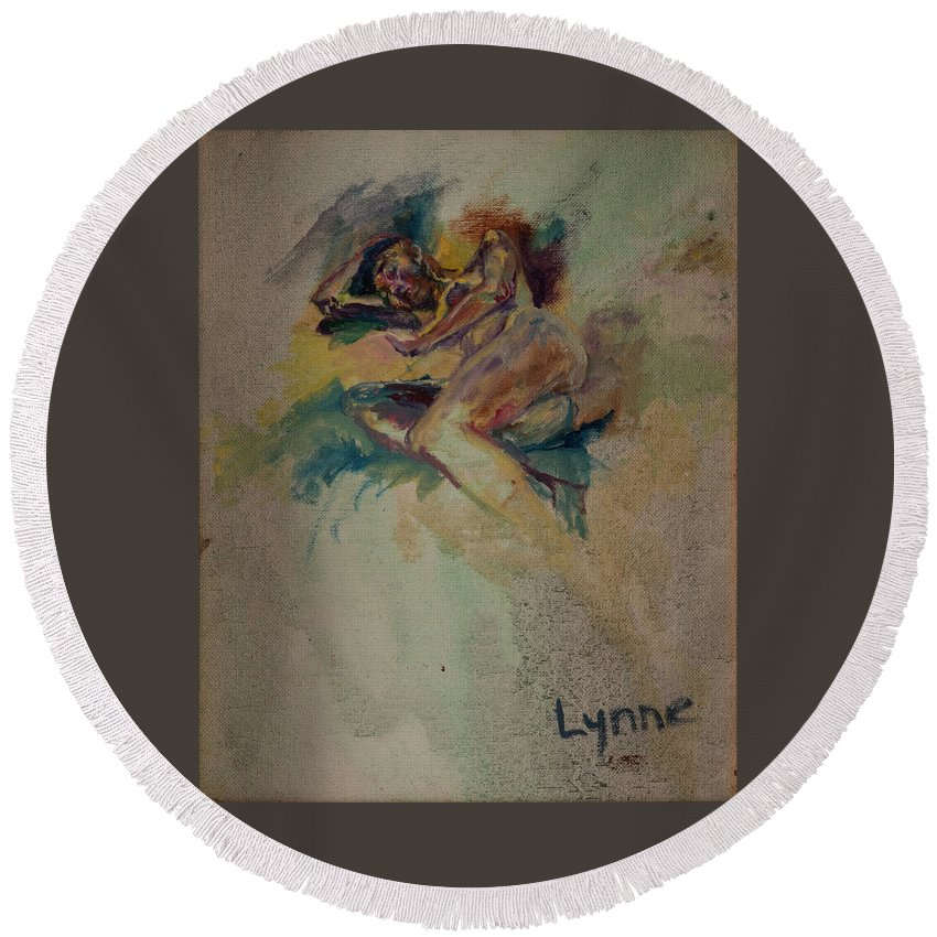 Nude Round Beach Towel featuring the painting Gabrielle by Lynne Guess