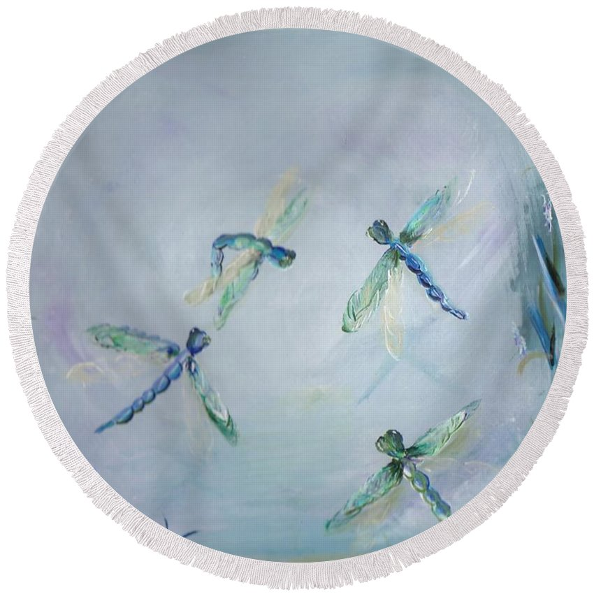 Dragonfly Round Beach Towel featuring the painting Gairid Beatha by Jessica Mason