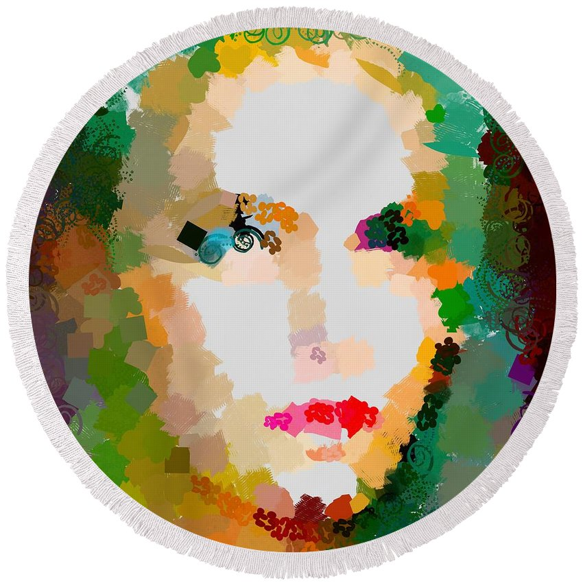 Gal Hotty Totty Round Beach Towel featuring the digital art Gal Hotty Totty by Catherine Lott