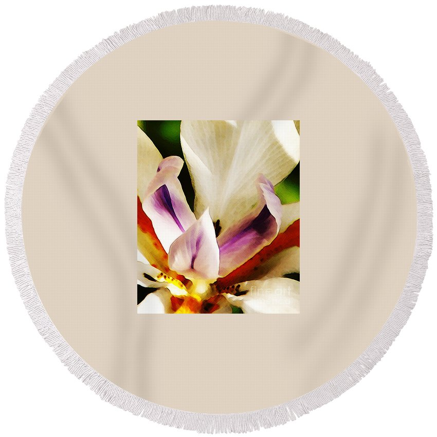 Flower Round Beach Towel featuring the photograph Gala by Linda Shafer