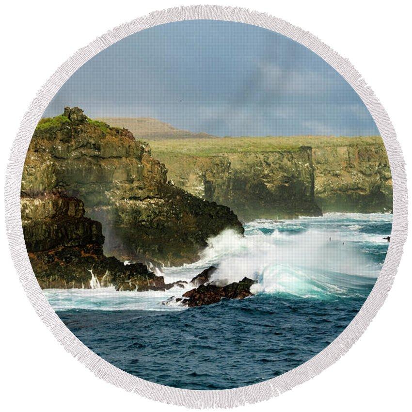 Galapagos Islands Round Beach Towel featuring the photograph Cliffs At Suarez Point, Espanola Island Of The Galapagos Islands by Kenneth Lempert