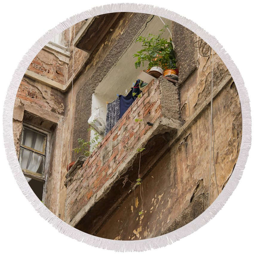 Galata Istanbul Turkey City Street Scene Cities Streets Building Buildings Structure Structures Apartment Apartments Balcony Balconies Architecture Window Windows Cityscape Cityscapes Round Beach Towel featuring the photograph Galata Apartment by Bob Phillips