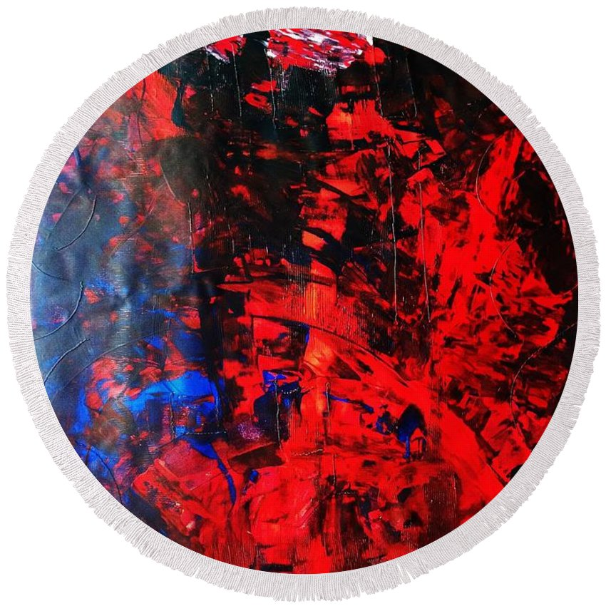 Abstract Art Round Beach Towel featuring the painting Galaxy Without Gravity by John Dossman