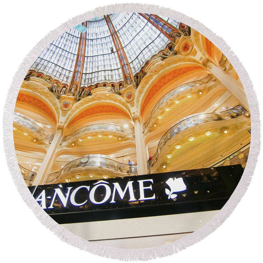 Galeries Lafayette Round Beach Towel featuring the photograph Galeries Lafayette Inside 2 Art by Alex Art and Photo