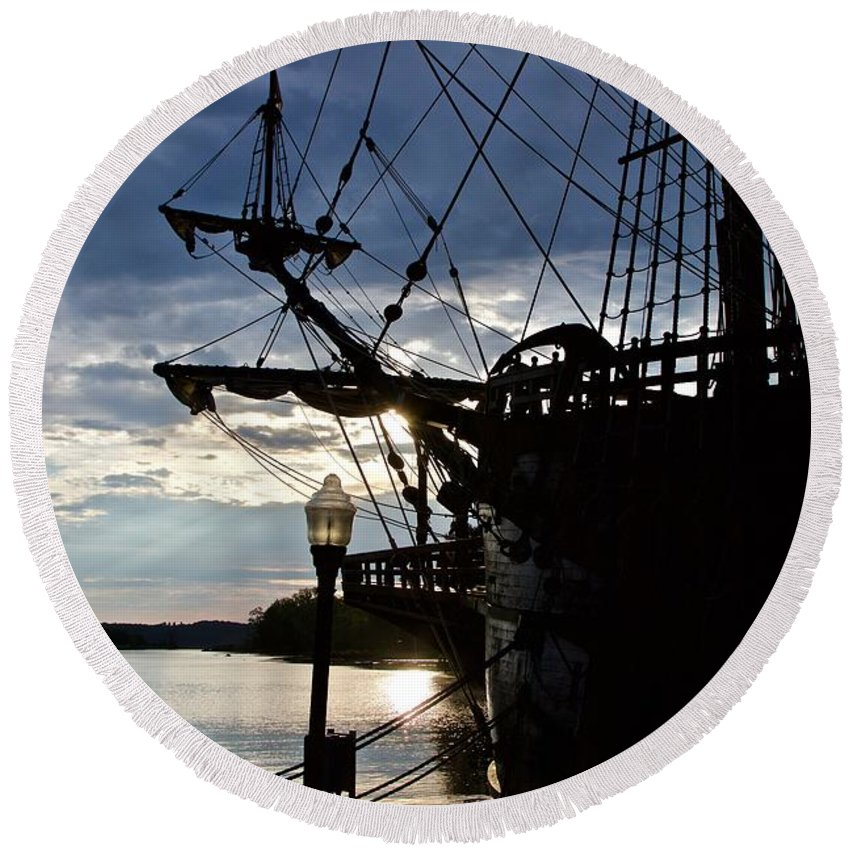 Galleon Round Beach Towel featuring the photograph Galleon by Peter J Scott