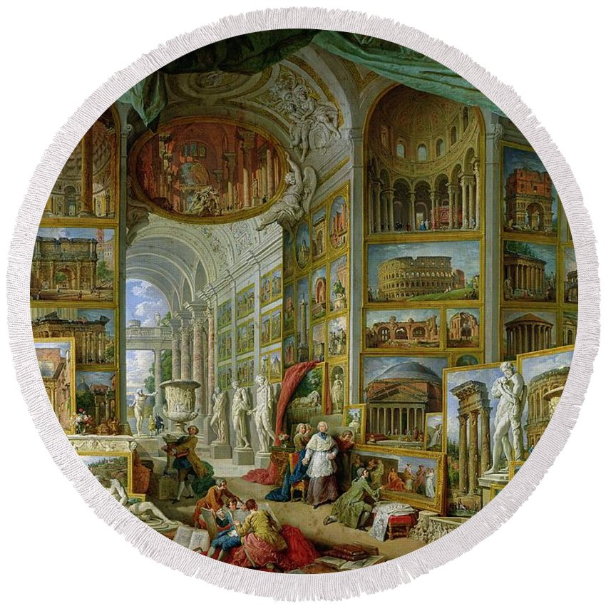 Gallery Of Views Of Ancient Rome Round Beach Towel featuring the painting Gallery Of Views Of Ancient Rome by Giovanni Paolo Pannini