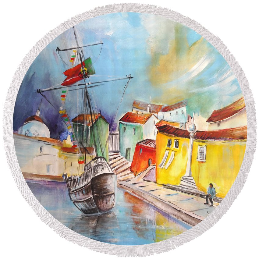 Portugal Round Beach Towel featuring the painting Gallion In Vila Do Conde by Miki De Goodaboom