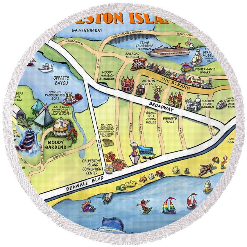 Galveston Round Beach Towel featuring the digital art Galveston Texas Cartoon Map by Kevin Middleton