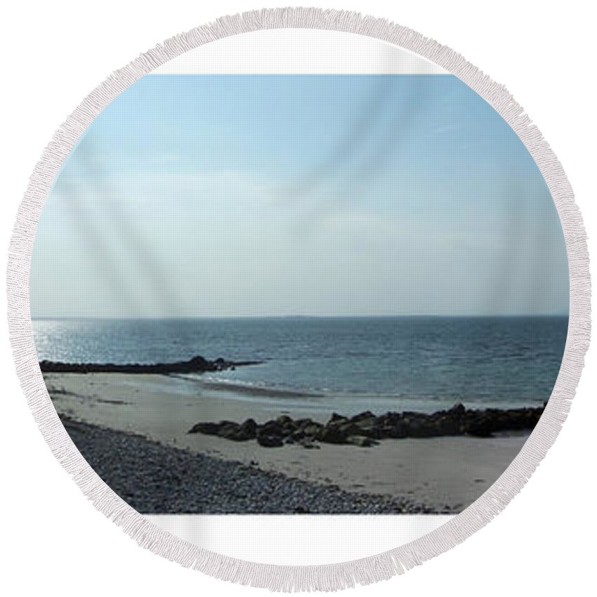 Irish Round Beach Towel featuring the photograph Galway Bay At Salt Hill Park Galway Ireland by Teresa Mucha