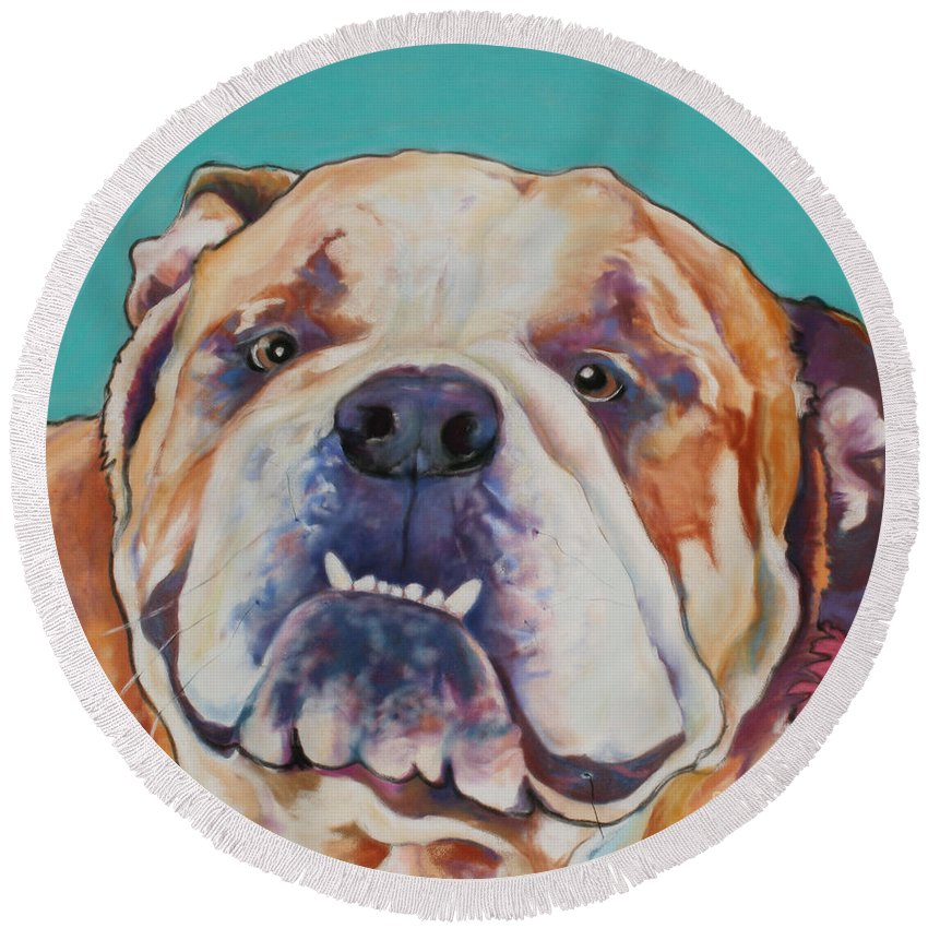 Pat Saunders-white Pet Portraits Round Beach Towel featuring the painting Game Face  by Pat Saunders-White