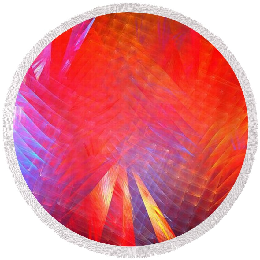 Apophysis Round Beach Towel featuring the digital art Gamma Rays by Kim Sy Ok