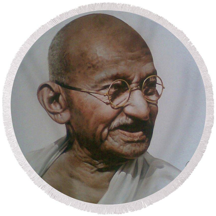 Figurative Round Beach Towel featuring the painting Gandhiji by Rajasekharan Parameswaran