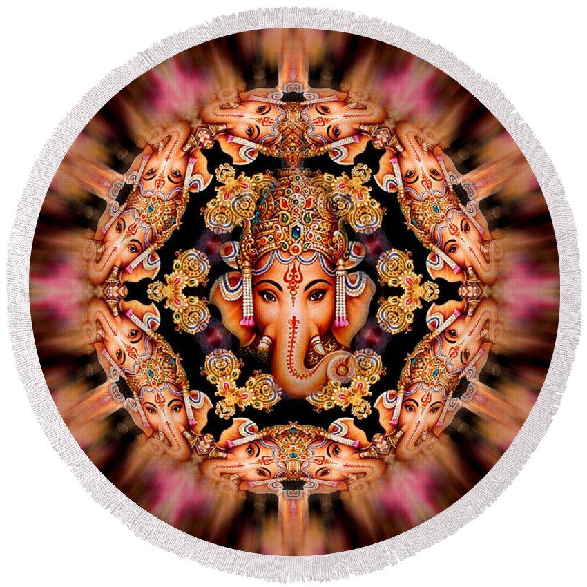 Digital Artwork Round Beach Towel featuring the digital art Ganesh Sphere Mandala by Richard Copeland