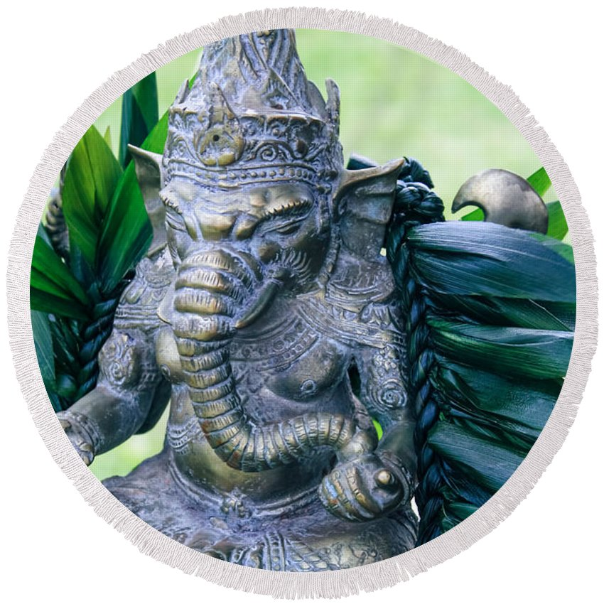 Round Beach Towel featuring the photograph Ganesha Ganesa Ganapati Vinayaka Pillaiyar Hindu Pantheon by Sharon Mau