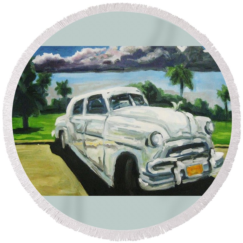 Old Cars Round Beach Towel featuring the painting Gangsters On Vacation by John Malone