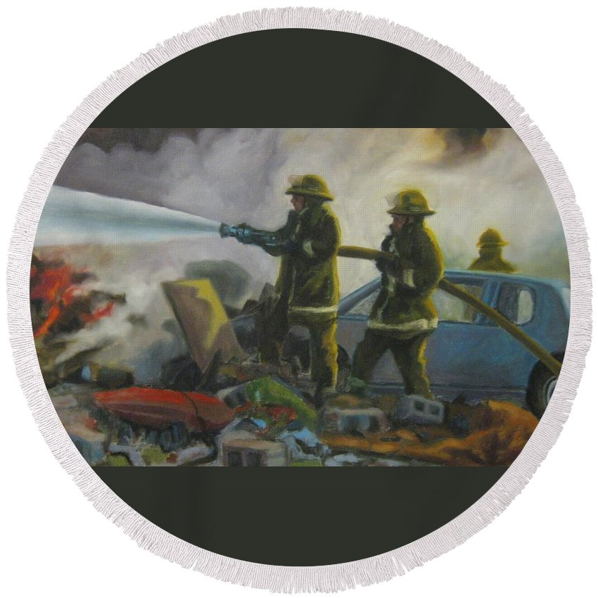 Firefighters Round Beach Towel featuring the painting Garage Fire by John Malone