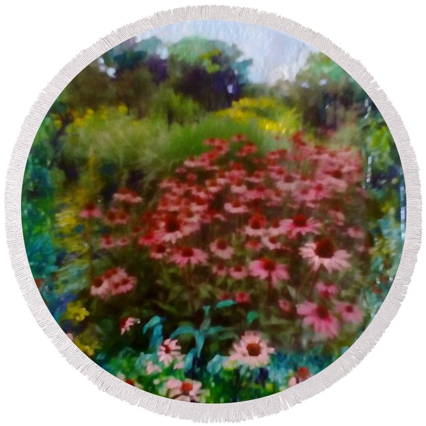Garden Round Beach Towel featuring the painting Garden by Angelina Whittaker Cook