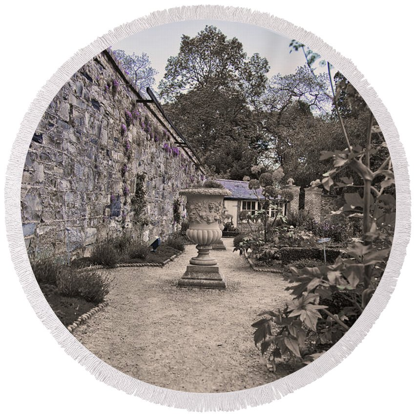 Garden Architecture Round Beach Towel featuring the photograph Garden Architecture 2 by Alex Art and Photo