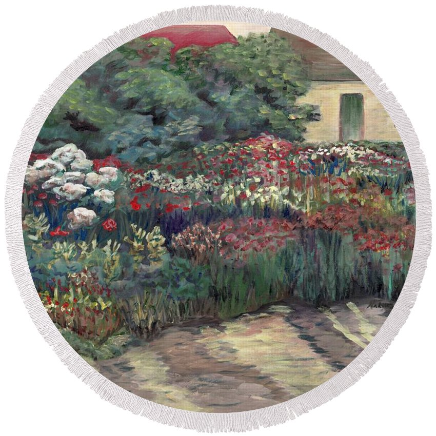 Breck Round Beach Towel featuring the painting Garden At Giverny by Nadine Rippelmeyer