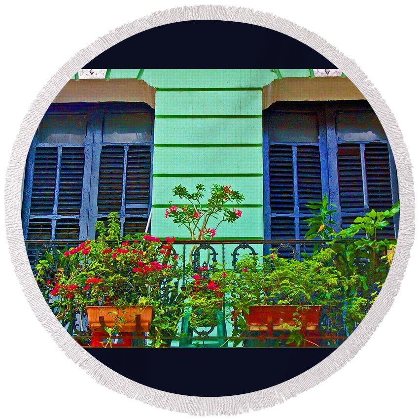 Garden Round Beach Towel featuring the photograph Garden Balcony by Debbi Granruth