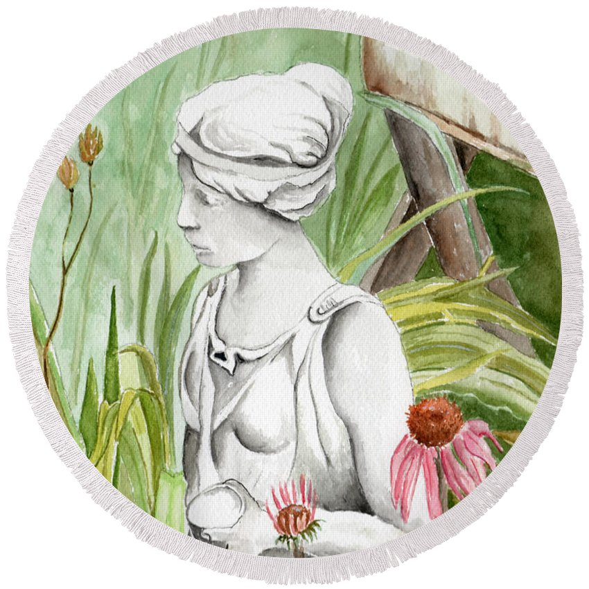 Watercolor Scenery Color Rural Garden Statue Woman Gardening Plants Flower Green Round Beach Towel featuring the painting Garden Beauty by Brenda Owen