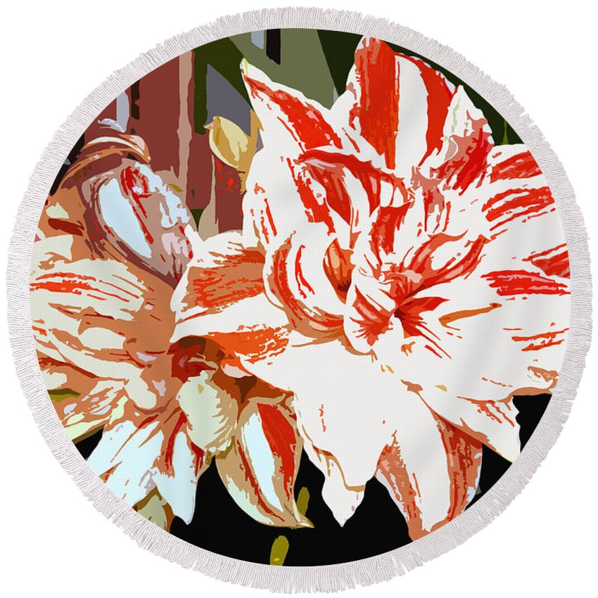 Flowers.tropical Round Beach Towel featuring the photograph Garden Beauty Work Number 30 by David Lee Thompson