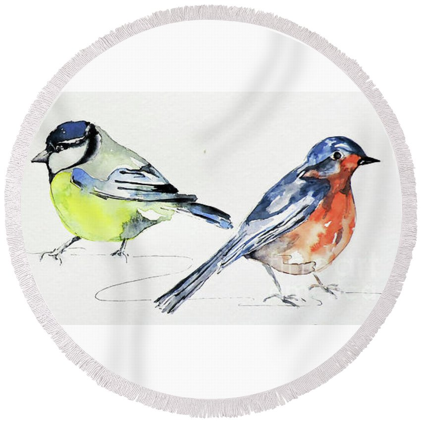 Watercolour Painting Round Beach Towel featuring the painting Garden Birds by Sharon Cox