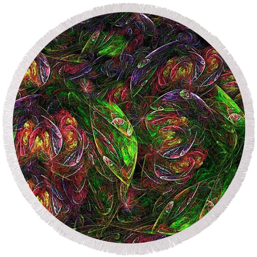 Flower Round Beach Towel featuring the digital art Garden Bright by Doug Morgan