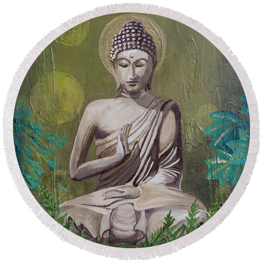 Buddha Round Beach Towel featuring the painting Garden Buddha by Amy Tanathorn